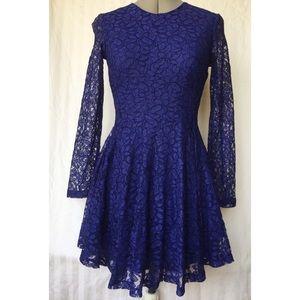 NWT H&M Floral Lace Skater Dress ~Royal~ US 4